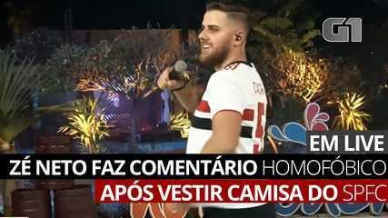 Sertanejo Zé Neto é criticado por comentário homofóbico após vestir camisa do SPFC
