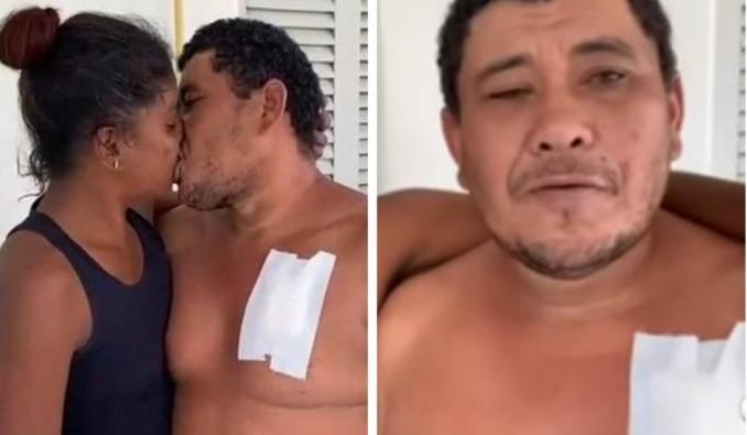 """Homem perdoa companheira após ser esfaqueado: """"Se ela for presa, eu vou junto"""""""